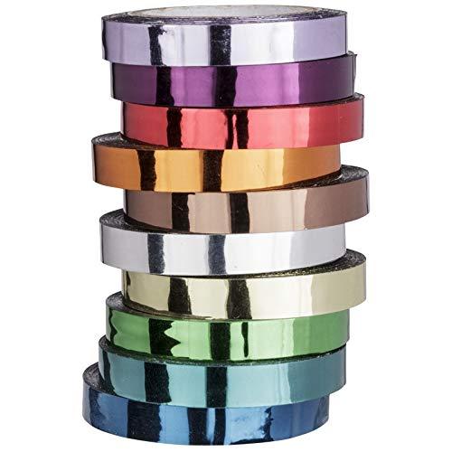 Ideen mit Herz Deko-Klebeband, metallic, Spiegelfolie, 10 Meter je Rolle, 10 Rollen | Washi Tape | Masking Tape | Dekoband | hochglänzend, spiegelnd, 10 (6mm breit)