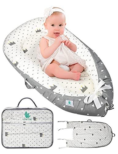 Wattne Babynestchen set-für Neugeborene und Babys, Multifunktionales Baby Nest Pod,100% Baumwolle, Hypoallergenes Neugeborenennest, Geeignet für Zuhause, Reiseanzug