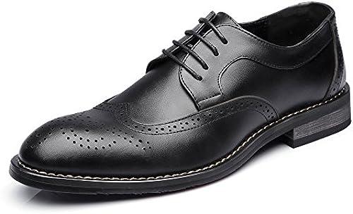 JIALUN-Schuhe Mode Herren Low Top Business Schuhe Matte Hohl Schnitzen Echtes Leder Lace Up Atmungsaktiv Gefütterte Oxfords (Farbe   Schwarz Größe   25.5CM)