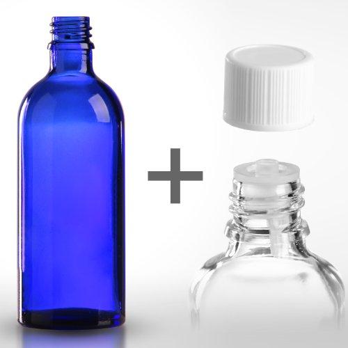 50 x Blauglasflaschen / Tropferflaschen 100ml inkl. Standard-Schraubverschluss DIN 18
