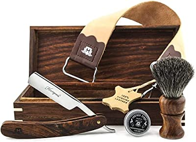 Hand Assembled Classic Collection Vintage Barber Salon Outstanding Wooden Box Straight Cut Throat Wooden Shaving Razor, Wooden Black Badger Hair Shaving Brush, Leather Strop And Honing Paste. Set 5 Pc Luxury Kit.