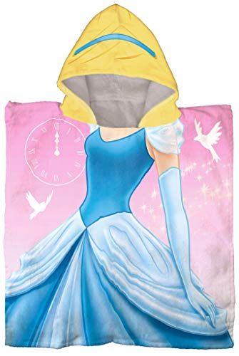 Jay Franco Disney Cenicienta Poncho con capucha para baño/piscina/playa – Toalla de algodón súper suave y absorbente, medidas 60 x 28 pulgadas (producto oficial de Disney)