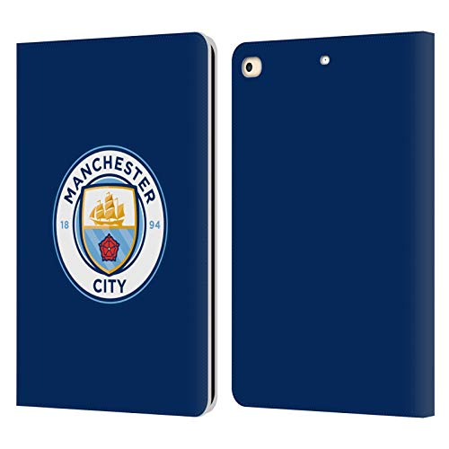 Official Manchester City Man City FC Obsidian Full Colour Badge Leather Book Wallet Case Cover Compatible For Apple iPad 9.7 2017 / iPad 9.7 2018