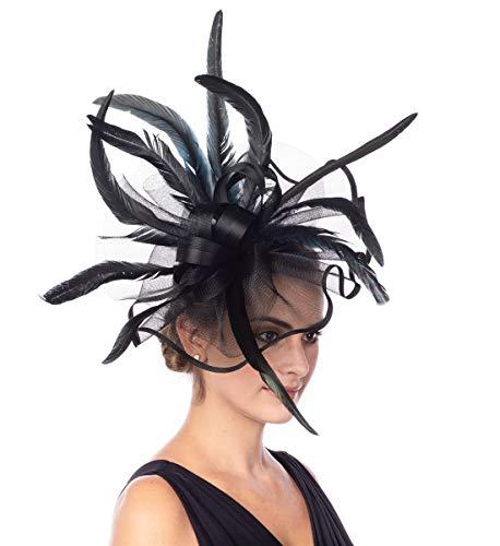 Lucky Leaf Girl Lady Hat Headwear Organza Church Feather Clip Fascinators Hat Wedding Party Kentucky Derby Cap for Women (5-Black)