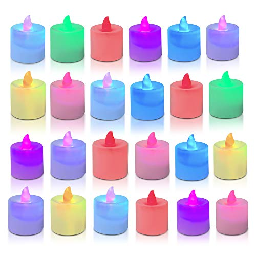 TOGETOP 24 LED Kerzen,LED Teelichter Flameless Kerzen Tee Lampen Flackernde LED Flammenlose kerzen Tealight Elektrische Batteriebetriebene Kerze für Weihnachten Hochzeit Ostern Geburtstag Party(Bunt)