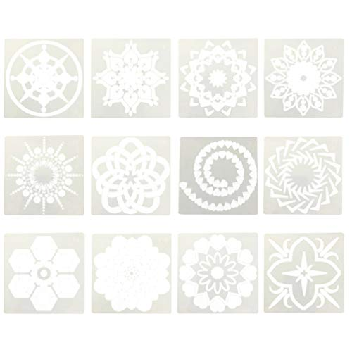Healifty 12 Stks Mandala Schilderen Stencils Sjabloon Dot Cut Tekening Stencil Holle Mallen Schilderen Tool Voor Diy Kaart Maken Scrapbooking Papier Fotoalbum Decoratie