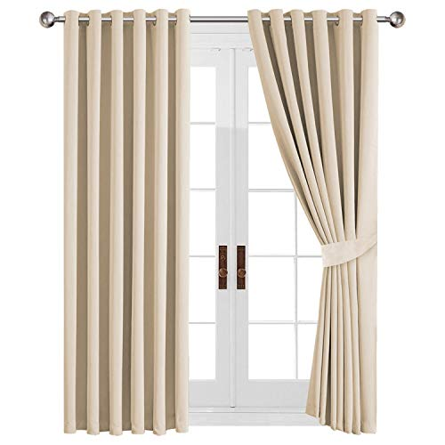 AH Homeware Window Treatments Eyelet Readymade Blackout Curtains Thermal Insulated Top Ring For Windows, Living Rooms, with Two Tiebacks (Cream, 46' Width X 54' Drop (117 x 137 CM))