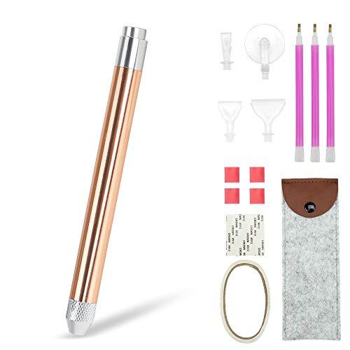 N&T NIETING LED Diamond Painting Drill Pen, Diamond Painting Pen with Light, 4 Pen Heads, Storage Bag, Lighted Diamond Art Pen, Gifts for Women