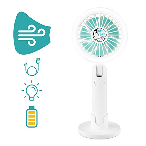Luftikuss USB Mini Ventilator mit LED Beleuchtung I Leise & Aufladbar mit kräftigem Luftstrom I Starker Handventilator für bis zu 3,5h Betriebszeit I Akku Ventilator mit Leselampe für Camping & Co.