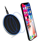 LEED VISION - 15W Qi Certified Mini and Fast Wireless Charger with Type-C - Compatible with iPhone, Samsung Galaxy, Xiaomi, Huawei and Android smartphones (NO AC Adapter) (Black)