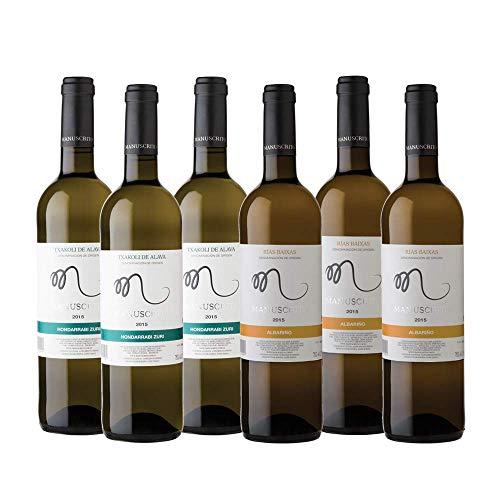 Vinos Manuscrito Pack 6 Botellas - Blanco (3x Albariño 100% - 3x Txakoli 100%)