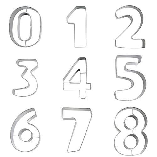Kurtzy Cortador de Galletas 9 Piezas Formas de Números del 0 al 9 – 8 cm de Alto - Molde Galleta Acero Inoxidable Apto para Alimentos – Decoración de Pasteles, Hornear, Fondant, Sugarcraft, Gelatina