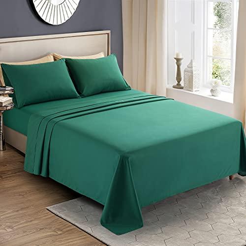 KKJIAF 4 Piece Bed Sheet Set, Microfiber Bed Sheet Twin Size, 1800 Thread Count Microfiber Soft & Breathable Bedding Sheet Sets, Deep Pocket Fitted Sheet, Flat Sheet and 2 Pillowcases - Dark Green