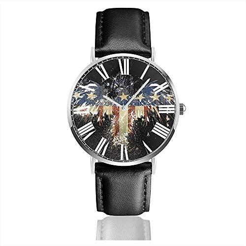 American Flag Eagle Profil Schwarze Uhr Lässige Armbanduhren mit schwarzem Lederarmband