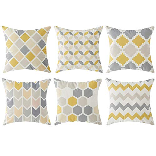 Topfinel Geometric Cushion Covers 40cm x 40cm Microfiber Yellow Grey 6 Packs Christmas Art Decorative Square 16X16 Inch Throw Pillow Cases for Sofa Bedroom Boudoir Living Room Car , Invisible Zipper