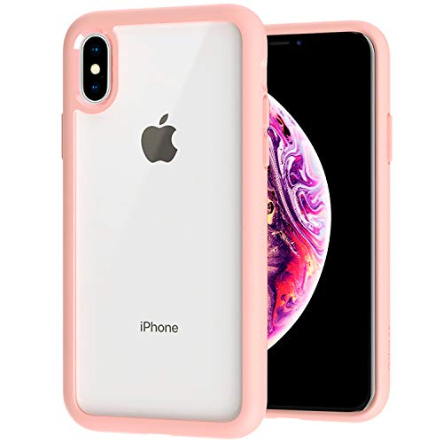 ZUSLAB Tough Fusion for Apple iPhone Xs Case/iPhone X Case with Transparent Hard Clear Back Cover + Soft Silicone Rubber Bumper with Air Space, Anti-Scratch Shockproof Hybrid Protection- Matte Pink