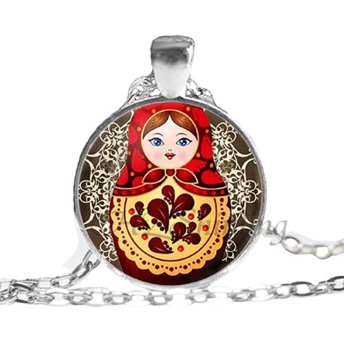 Tradición muñeca rusa cuadro colgante collares joyería de las mujeres cadena vintage cristal cabujón collar al por mayor