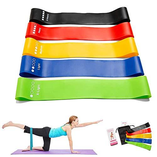 FiiMoo[5 Couleurs Bande Élastiques de Résistance, Bande de Fitness Multi Niveaux de Force, Latex Naturel Bande pour Rééducation Exercices/Musculation/Pilates/Yoga/Gym à Domicile et Plus