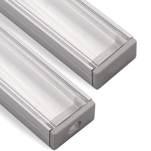 LED Aluminium Profil-PH1 (2000 x 18 x 8,5 mm) für breite LED Stripes bis 16 mm (z.B. für Philips Hue LightStrip) Aufbauprofil mit klarer Abdeckung und Endkappenset SO-TECH®