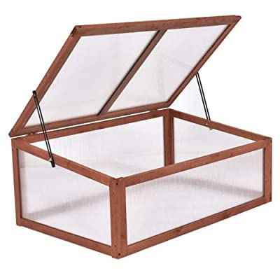 GoodGoods LLC Green House Cold Frame Garden Portable Wooden Raised Plants Bed Protection New