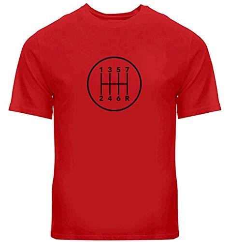Manual Transmission 7 Speed Stick Shift Pattern Shift Unisex Mens Women Crew Neck Tee T-Shirt ((7RDR)) (XL, Red)