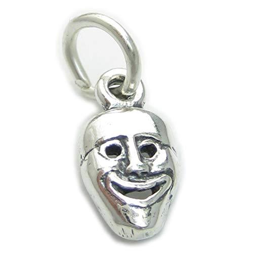 Komödie Maske Kleiner Sterling Silber Anhänger .925 x 1 Drama Masken Anhänger cf2233