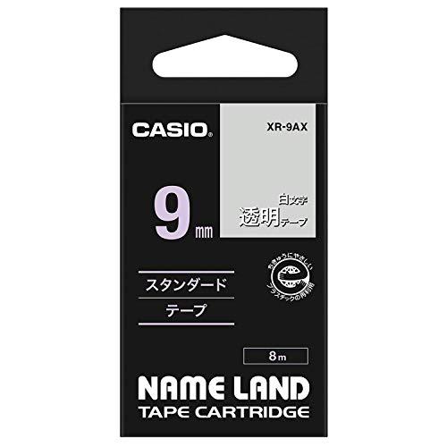 カシオ ラベルライター ネームランド テープ 9mm XR-9AX 透明 白文字