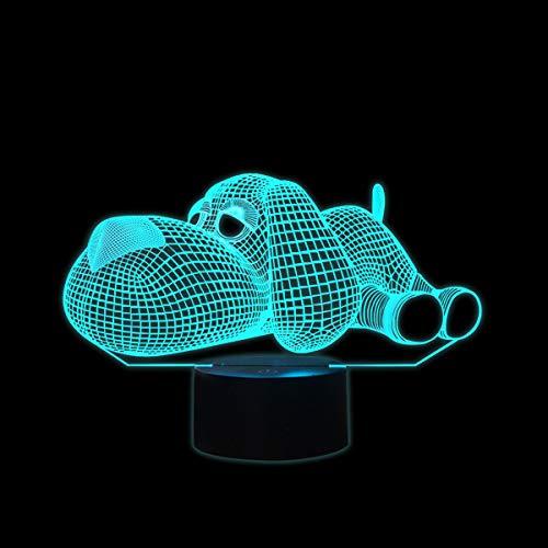 Coolzon Lámpara 3D Ilusión Luz Nocturna LED para Bebe Infantil Niños, Luz de Noche Lampara 3d de Noche 7 Colores Cambio Deco Lámpara de Escritorio Táctil con Cable USB, Perro