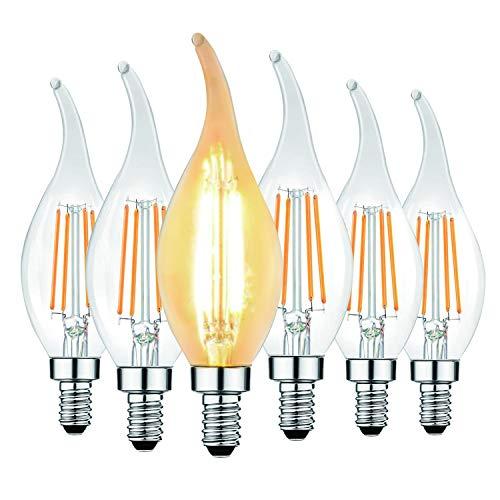 Svater 6 Pack E14 Lampadina a candela a filamento a LED con punta a fiamma, C35 4W - 40W Lampadine a incandescenza Equivalente Super Warm White 2700K Edison Ambra Lampadina a candela, non dimmerabile