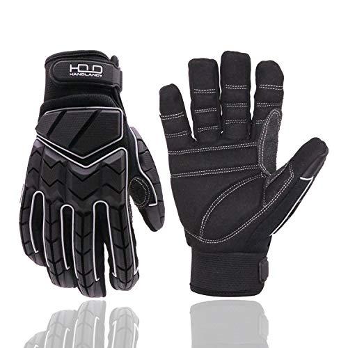 Euglove Mechanikerhandschuh, Premium Padded Rigger Handschuh, Anti-Vibrations-, Anti-Abrieb-, Impact-Handschuhe (M, Black)