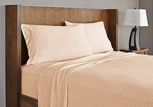 Royale Linens Soft Tees Cotton Modal Jersey Knit Sheet Set, Queen, Blush