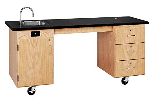 """Diversified Woodcrafts 4352K UV Finish Solid Oak Wood ADA Compatible Mobile Lab Station with ChemGuard Top, 72"""" Width x 33"""" Height x 27"""" Depth"""