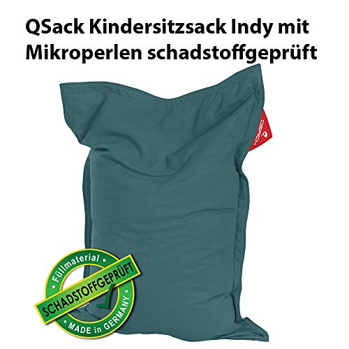QSack Kindersitzsack Indy, mit Sitzsack Innenhülle, schadstoffgeprüfte EPS Mikroperlen, 100 x140 cm Sitzsack für Kinder, Neu (Petrol)