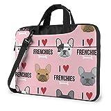 Ich Liebe französische Bulldoggen Laptoptasche Notebook Computer Schutzhülle Anti-Kratzer Handtasche Umhängetasche für School College