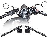 CNC Aluminio Semimanillar Moto 45mm Alzas Manillar Motocicleta 22mm Cafe Racer Kit Universal Negro 7/8' Semi Manillar Moto Custom Para Dirt Bike Yamaha Honda Suziki Kawasaki Ducati Triumph Aprilia
