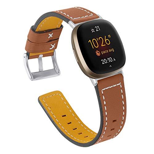 HGNZMD Correa De Cuero Genuino Compatible con Fitbit Versa 3 / Sense, Mujeres Hombres Reloj Bandas De Repuesto Pulsera Deportiva Rastreador De Ejercicios Compatible con Sense/Versa 3,Marrón