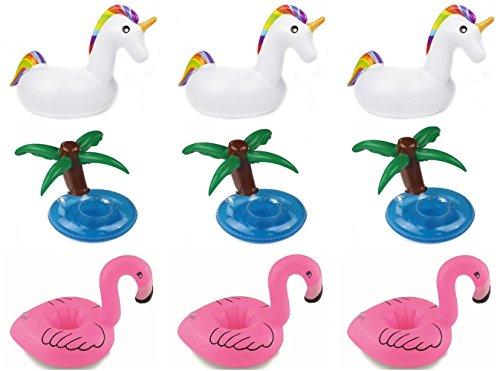 Aufblasbare Getränkehalter,Einhorn Flamingo Palm Island Aufblasbares Flaschenhalter Badespielzeug Pool Untersetzer für Bier Getränke Saft (9 Stück-(3 Palm+3Flamingo +3Einhorn))