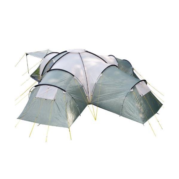Skandika Korsika Dome Tent with 3 Big Sleeping Cabins, 210 cm Peak Height and 5000 mm Water Column, Green/Beige, 10-Berth