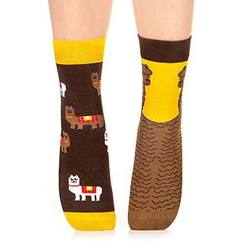 Petsy Lustige Socken für Damen und Herren - Baumwolle Bunt Motivsocken mit Spruch - Perfekt Verrückte Geschenke Mehrfarbig,Peruvian Alpaca,39-42