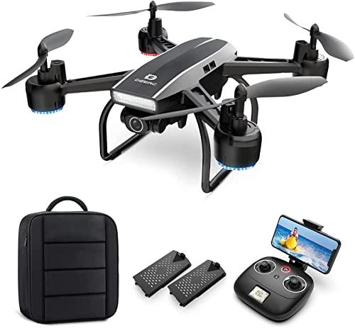 D50 Drone con fotocamera for adulti 2K Ultra FPV Grandangolare regolabile video live Rc. Quadcopter con altitudine Tenere la modalità senza testa Gesture Selfie Waypoint Funzioni 2 batterie e zaino dr