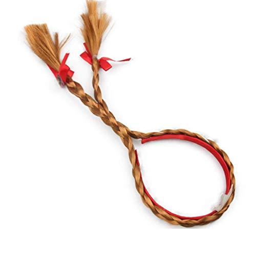 Enfants Hair Hoop Wig Twist Double Braids Headband Long Hair Wig Head Wrap, Brown Halloween