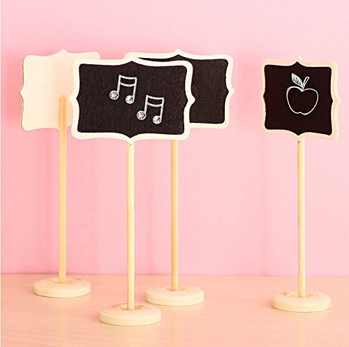 Worldoor12 Mini Retangle Chalkboard Blackboard with Stand Wedding Party Table Numbers Place Card Favor Tag Plant Marker