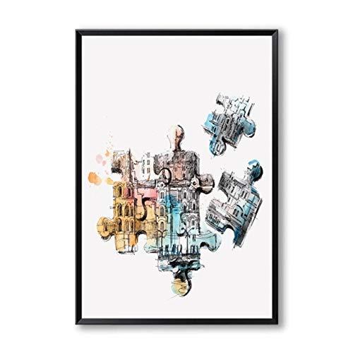 Moderne abstracte schets aquarel perspectief canvas schilderij kunstdruk poster foto wanddecoratie 40x60cmx2 niet ingelijst