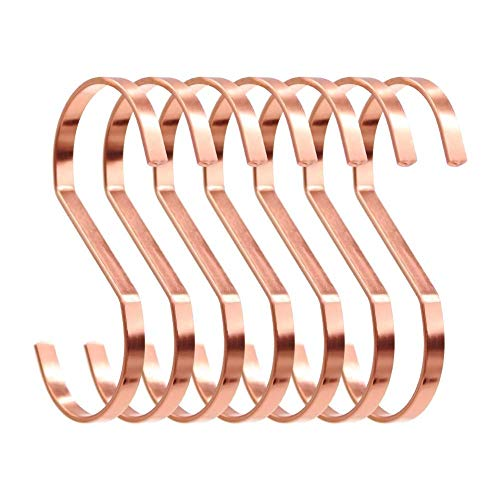 SumDirect 10pcs 4 Inch Rose Gold Flat S Hooks, Heavy Duty Stainless Steel S Shaped Hooks for Hanging Pots and Pans,Outdoor Plants and Clothes