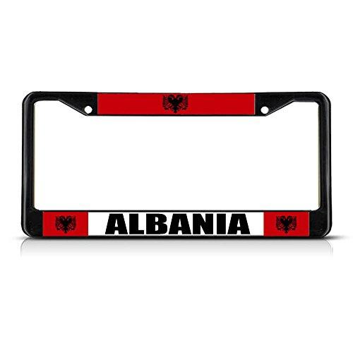 Albanische Flagge, schwarz, strapazierfähiges Metall, ideal für Männer, Frauen, Auto-Garadge Dekor