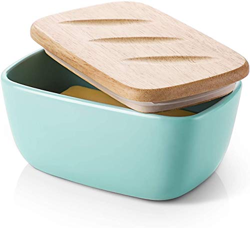 DOWAN Porcelain Butter Dish - Covered Butter Container with Wooden Lid for Countertop, Large Butter Dish with Covers Perfect for East West Coast Butter, Blue