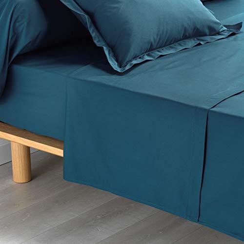 douceur d'intérieur drap plat 2 personnes 240 x 300 cm percale uni percaline bleu