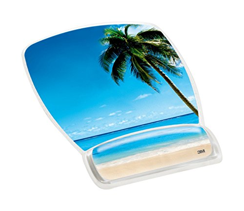 3M Precise Mouse Pad with Gel Wrist Rest, Soothing Gel Comfort with Durable, Easy to Clean Cover, Optical Mouse Performance, Fun Beach Design (MW308BH), Blue Beach,9'7.5'