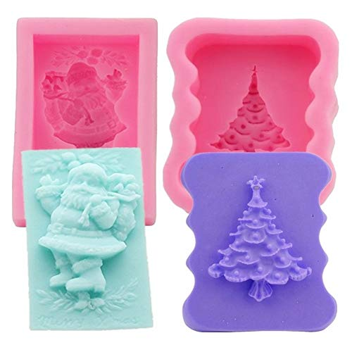 Silicone Mold Christmas Sets, Santa Claus and Christmas Tree Shape Craft Art Silicone Soap Mold, 2 Pack Craft Molds DIY Handmade Soap Gifts - Soap Making Supplies by YSCEN
