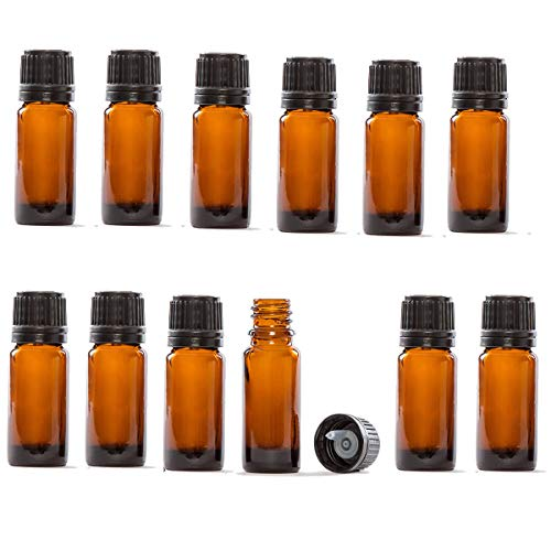Glass Bottles for Essential Oils - 12 Pack 10 ml Refillable Empty Amber Bottle with Orifice Reducers and Black Lids
